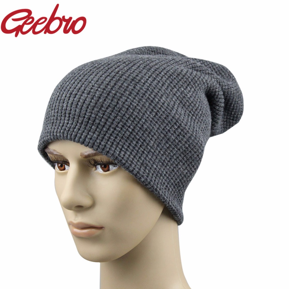 Geebro Brand Men's Spring Winter Hats Cashmere Warm Knitted Dad Hat For Men Real Wool Fur Skully Beanie 4 Color Black JS270A