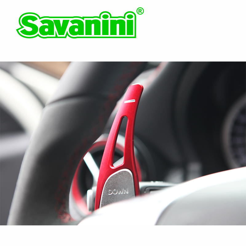 цена на Savanini Aluminum Steering Wheel Shift Paddle Shifter Extension For Mercedes Benz AMG A45 CLA45 C63 S63 GLA45 2009-2014 auto car