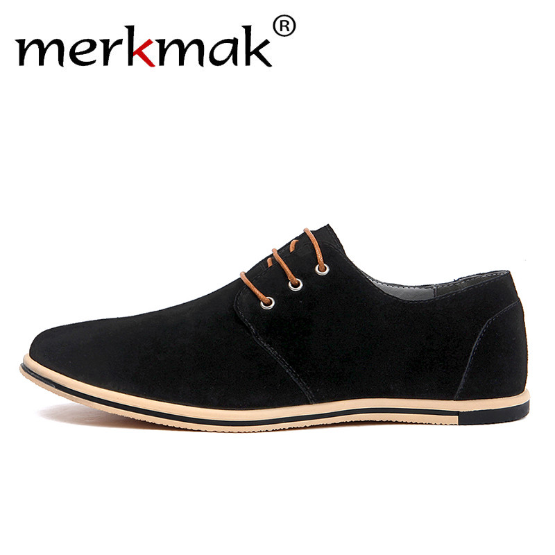 Merkmak Large Size 38~50 Genuine   Leather   Shoes Men Casual Shoes Elegant   Suede   Lace Up Mens Dress Shoes Business Office Patchwork