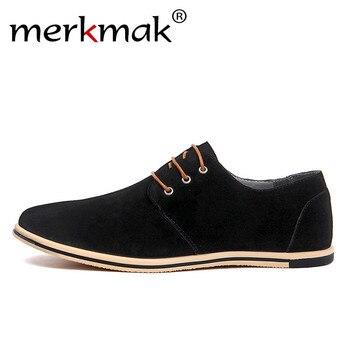 Merkmak gran tamaño 38 ~ 50 zapatos de cuero genuino de los hombres de la marca zapatos casuales de lujo elegante Zapatos de vestir para Hombre Zapatos de oficina de negocios patchwork