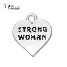 20pcs strong women on heart positive charm