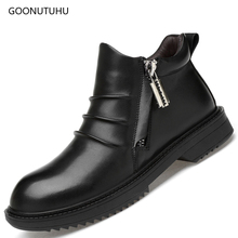 2019 new fashion men's boots genuine leather zipper ankle boot shoe man autumn & winter snow boots for men plus size black shoes 2017 new fashion autumn winter genuine leather women ankle boots brand quality black woman shoes snow boots plus size 34 43