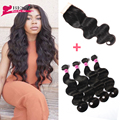 Brazilian Virgin Hair with Closure Wet and Wavy Virgin Hair with Closure Body Wave Human Hair with Closure 4Bundles with Closure