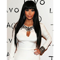 Kim Kardashian Bangs Hairstyle Long Straight Capless Synthetic Hair Wigs Shiny Black Wigs