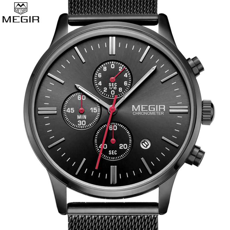 Megir Watch Men Fashion Quartz Clock Watches Top Brand Luxury Full Steel Army Military Sport Male Wrist Watch Relogio Masculino 2017 ochstin luxury watch men top brand military quartz wrist male leather sport watches women men s clock fashion wristwatch