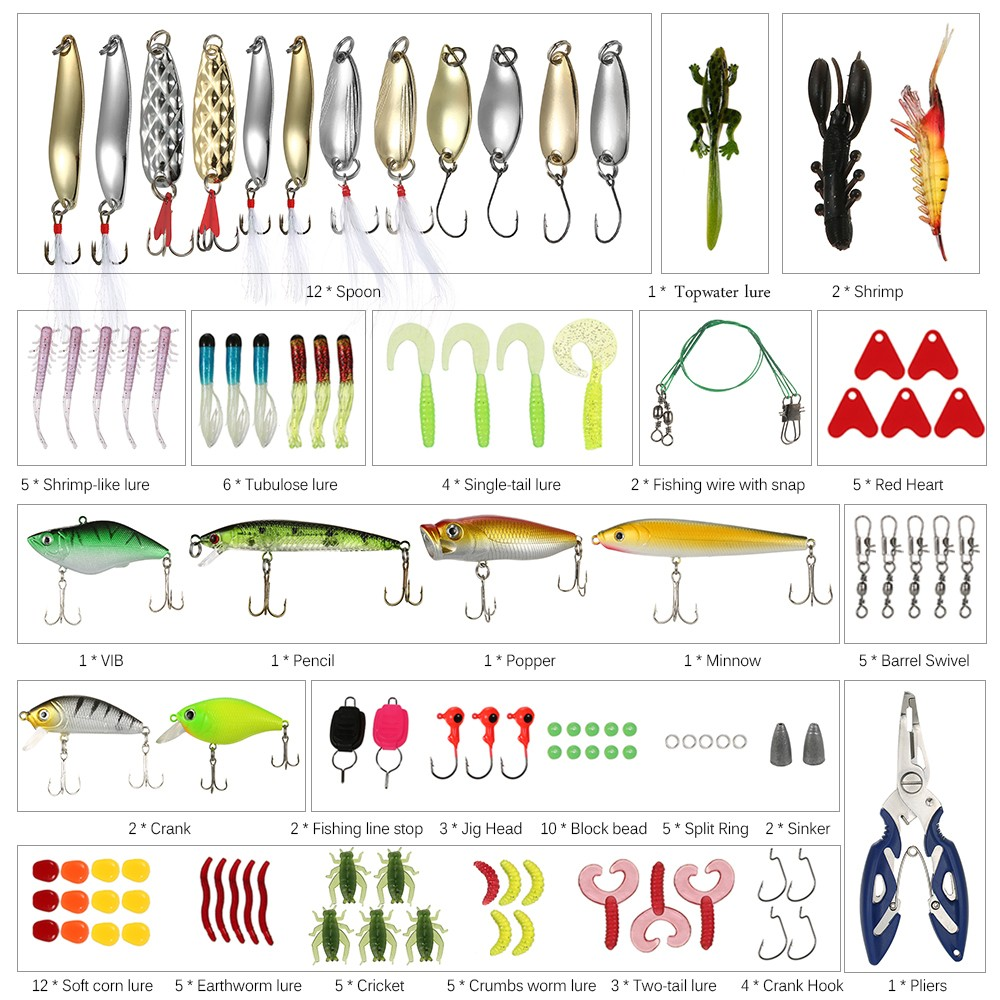 106pcs Fishing Lures Kit <font><b>Topwater</b></font> Mixed Soft <font><b>Baits</b></font> Popper Crankbait Floating Hooks Plier Fishing Accessories Set with Box Pesca