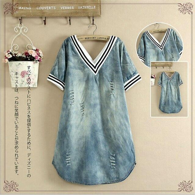 fd714a84065 Loose V Neck Denim Shirt Dress Short Sleeve Women Denim Jean Dress for  Juniors Plus Size Jeans Dresses British Style