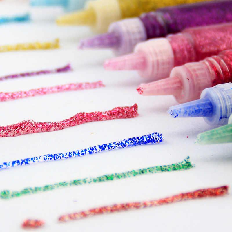 10 Plumas Pegamento del brillo Niños Niños Colores Surtidos Arte Hacer Tarjetas Craft