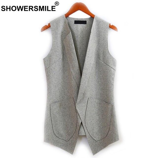 cc74f46844d SHOWERSMILE Slim Fit Wool Vest For Women Autumn Open Front Grey Sleeveless  Waistcoat Female Jacket Long Casual Blazer