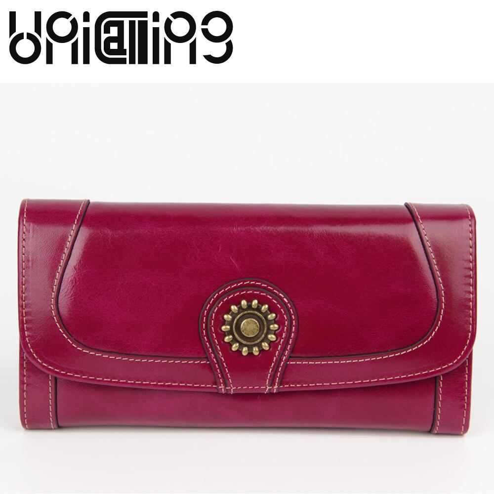 Portefeuille long en cuir de vachette à l'huile de mode rétro unicola pour femmes, couleur unie, mini moraillon en cuir véritable, portefeuille pour femmes 16 porte-carte
