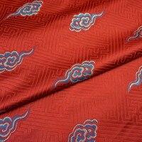 Giấy đỏ màu vàng thổ cẩm vải những đám mây tốt lành/silk satin satin vải/phong cách quần áo Trung Quốc cổ đại incense/100 CM * 75 CM