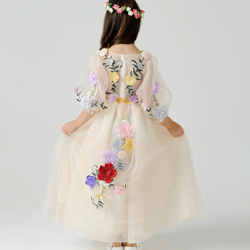 SMDPPWDBB Girls Long Sleeve Princess Children flower Girl Dress For Wedding 2-14 Years Girls Trailing Party Prom Dresses girls sleeveless princess children flower girl dress for wedding 3 14 years girls long tail party prom dresses