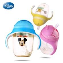 Disney bébé tasse bouteille d'eau d'alimentation avec poignée aucun déversement chaude bouteille d'eau avec de la paille heathy boisson d'apprentissage à bec copo Mignon cadeau