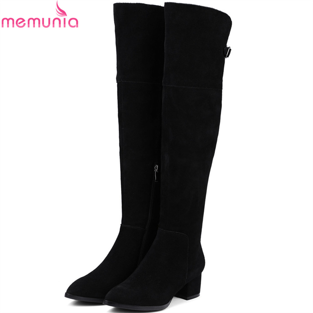 MEMUNIA black fashio pointed toe women boots zipper square heel cow suede ladies boots autumn winter sexy over the knee boots morazora autumn winter new arrive women boots pointed toe zipper flock ladies boots square heel cross tied over the knee boots