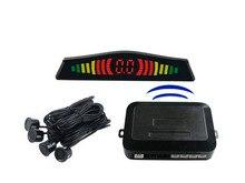 Envío gratis LED inalámbrico sensor de aparcamiento, LED del Revés del coche Del Radar con 4 Sensores, 6 sensores de color