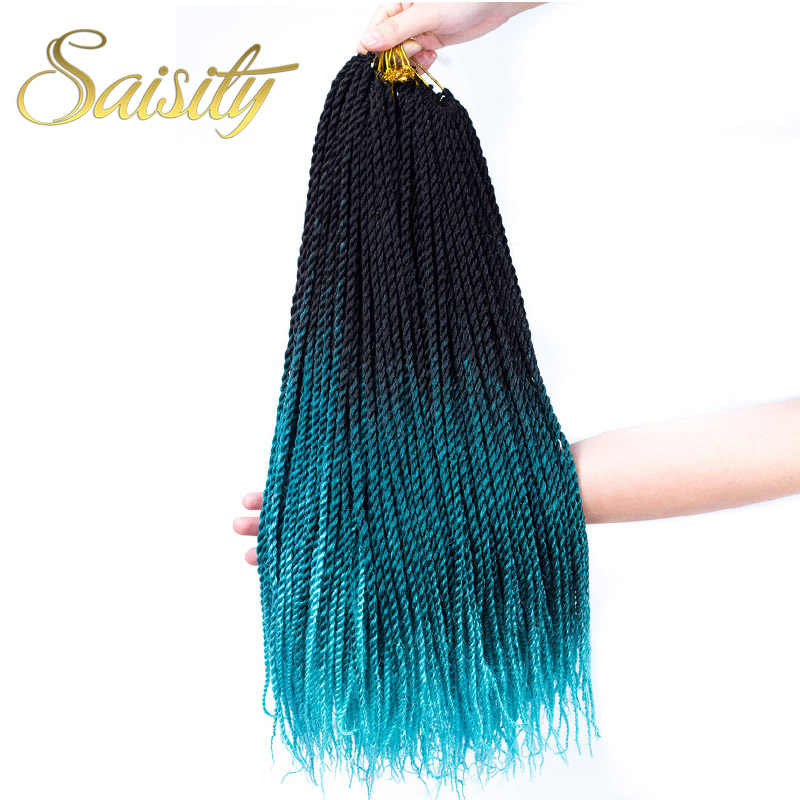Saisity Soft Crochet Braids Ombre Black Brown Synthetic Braiding Hair Senegalese Twist  Crochet Hair Extenstions