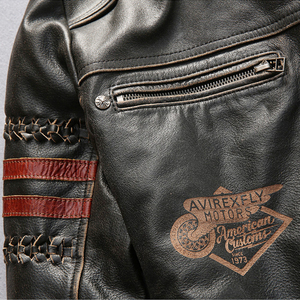 Image 3 - Genuine Leather Motorcycle Racing Jacket AVIREXFLY Motorbike MOTO Jacket cowhide leather Road ride jacket