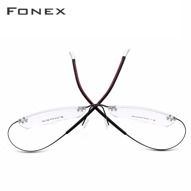 Sans monture B pur titane sans cadre lunettes de Prescription hommes femmes ultra-léger lunettes myopie cadre optique sans vis lunettes - 3