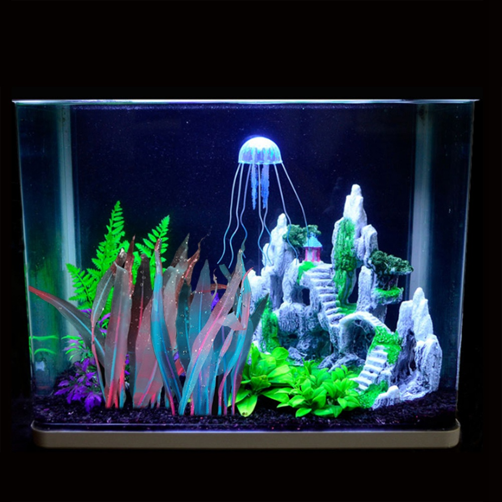 SunKni 2 Pack Glowing Effect Kelp Aquarium Decorations Plants Fish Tank Ornaments Artificial Floating Silicone D/écor Landscape 7 Inches Seaweed Colorful