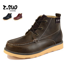 Z. Suo Trend of men's boots in the spring and autumn fashion shoes leather tooling, British short boots men shoes