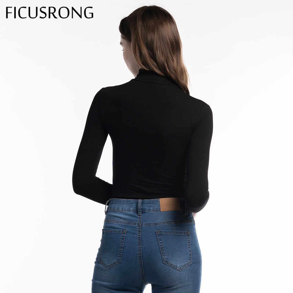 Ficusrong 2019 Baru Wanita Katun Lengan Panjang Leher Tinggi Kurus Baju Musim Gugur Musim Dingin Wanita Hitam Abu-abu Padat Seksi Body Suit