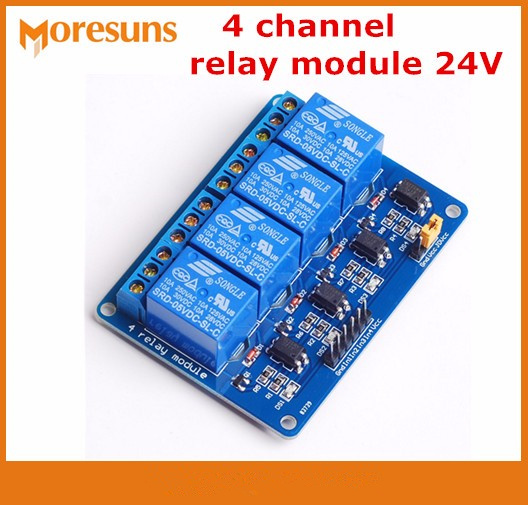 Fast Free Ship 10pcs/lot 24V 4 Channel Relay Module Opto-isolator Module Control Board For Arduino PIC ARM DSP AVR Raspberry Pi