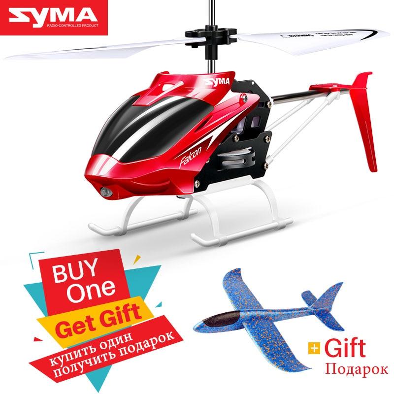 Syma Oficial W25 2 2 CH Canal Mini RC Zangão Helicóptero DO RC Com Giroscópio Resistente Acidente RC Brinquedos Para Menino caçoa o Presente Vermelho Amarelo