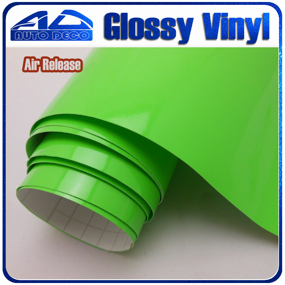 High Quality Fresh Green Glossy Car Wrap Sticker Film Foil With Air Bubble Free for Car Cover Color Change size :1.52*30m/roll film for change