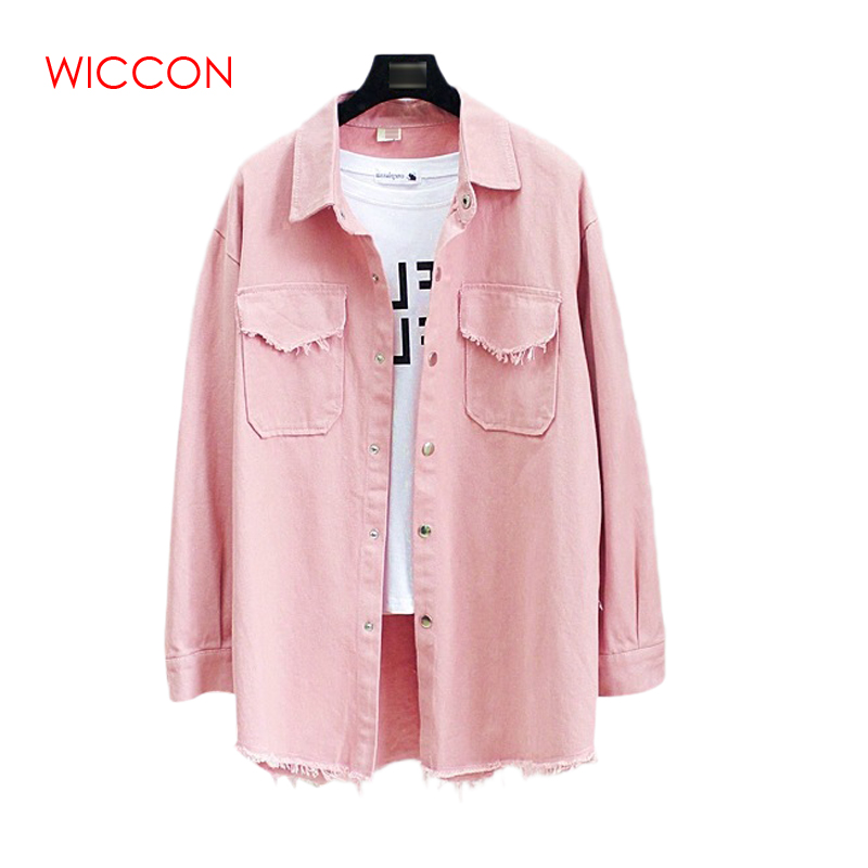 Women Denim   Jackets   2019 Spring Autumn New Long Section Lapel Tassel Loose Casual Long Sleeve Female's Thin   Basic     Jacket   Coats