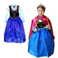 Venta al por menor 2015 nuevos Niños Ropa Anna princesa dress, vestidos de las muchachas + capa roja, Anna traje de bebé y ropa de niños
