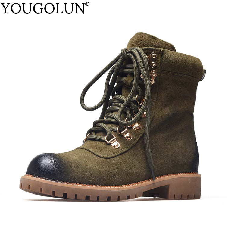 YOUGOLUN Women Ankle Boots Genuine Cow Suede Winter Low Heel Square Nubuck Leather Heels Lace up Green Long Plush Shoes #Y-208