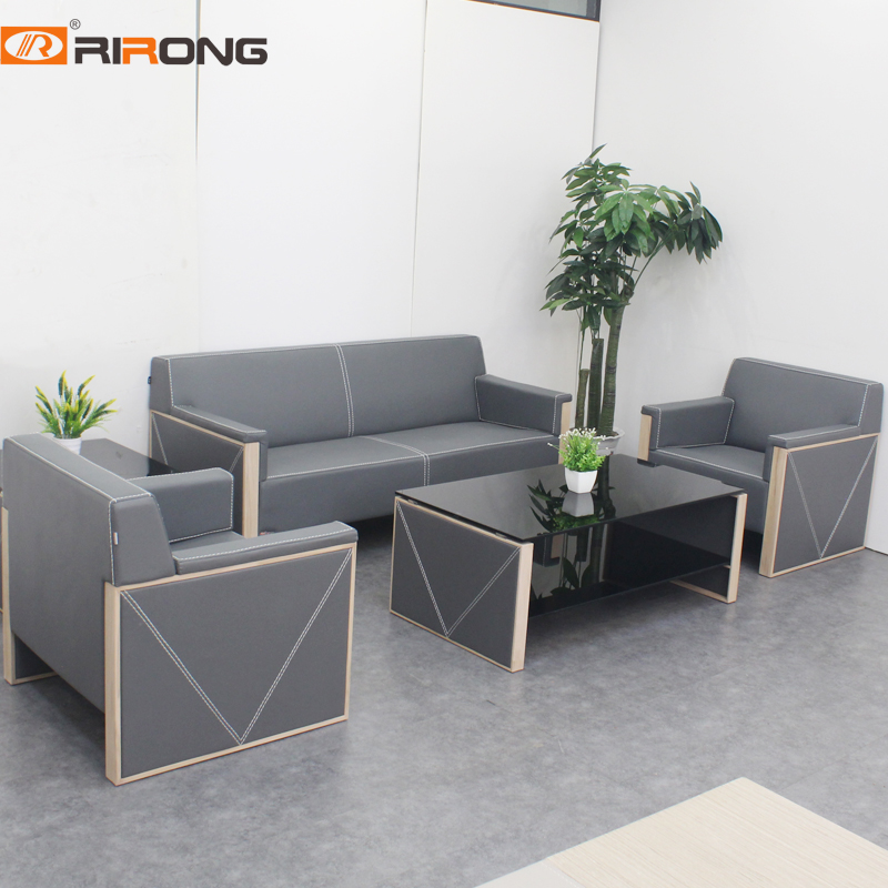 Luxury Modern Simple Style Leather Office Home Reception Area Wood  Sofa Coffee Tempered Table Set
