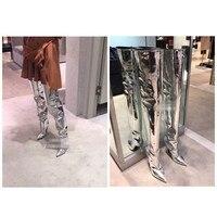 Европейская и американская международная торговля Большие размеры высокий каблук выше колена высокие сапоги зеркало с острым носком женск