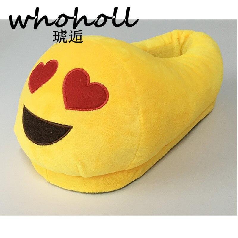 купить WHOHOLL Men And Women Home&House Shoes Soft Warm Yellow Cotton Plush Emoji Slippers Cute Funny Emoticon Plush Cotton slippers по цене 599.06 рублей