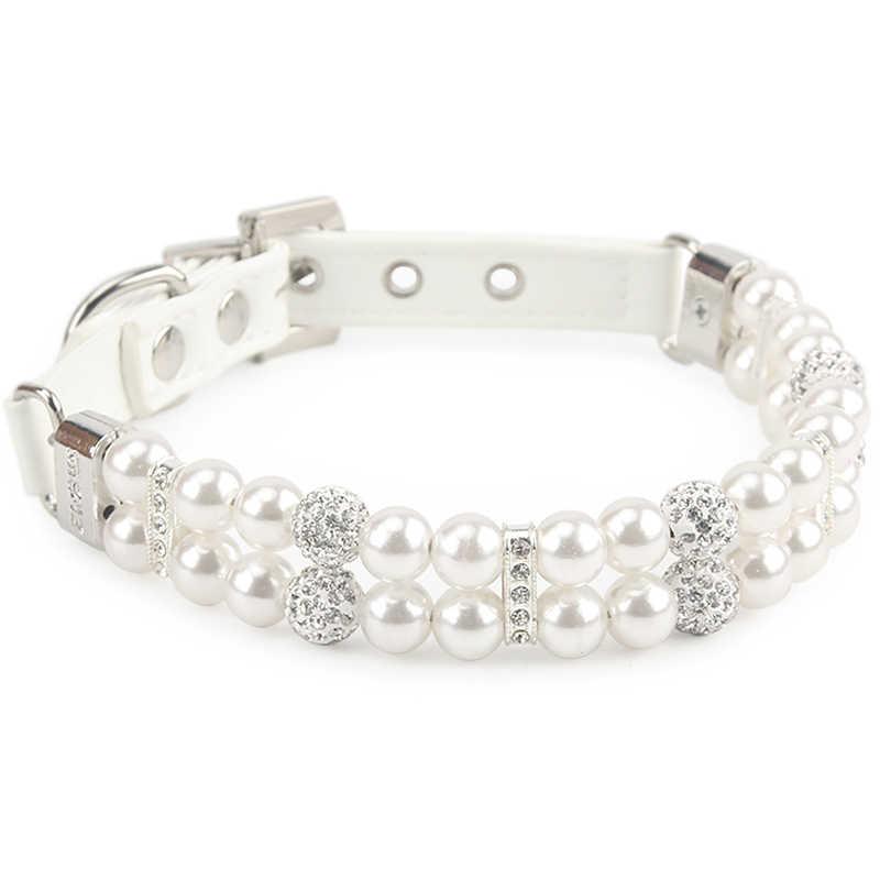Collier de chien en cuir PU perles artificielles colliers pour animaux de compagnie en strass pour collier de petits chiens