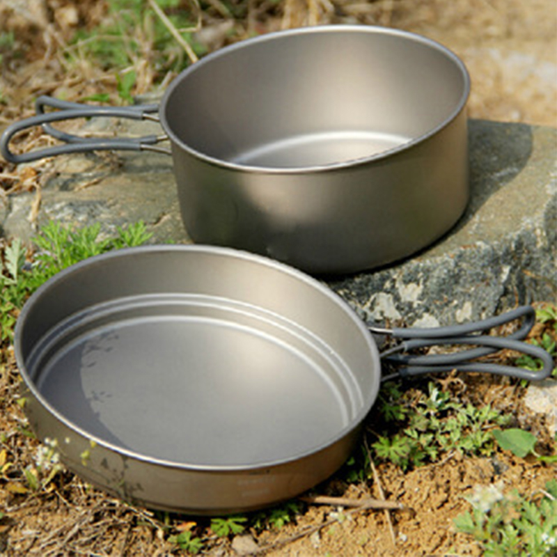 Keith Titanium Pot Outdoor Camping Hiking Traving Hunting Picnic Cookware Set Cauldron Frying Pan 0.8L And 1.25L 228g KP6017 keith 3pcs titanium pans bowls set with folding handle cook sets titanium pot set camping hiking picnic cookware utensils ti6053