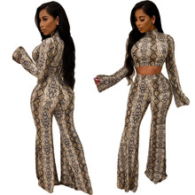 Women Snake Skin Two Pieces Set Long Flare Sleeve Sexy Turtleneck Crop Top and Elastic High Waist Wide Leg Pants Tanksuits Party