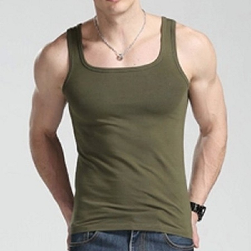 Summer Men Casual   Tank     Top   Cotton Square Collar Solid Fitness Bodybuilding Sleeveless XXL Plus Size Men   Tops   Clothes