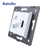 RainBo Brand Manufacturer Free Shipping White Materials DIY Accessory Function Key For HDMI Power Socket EU