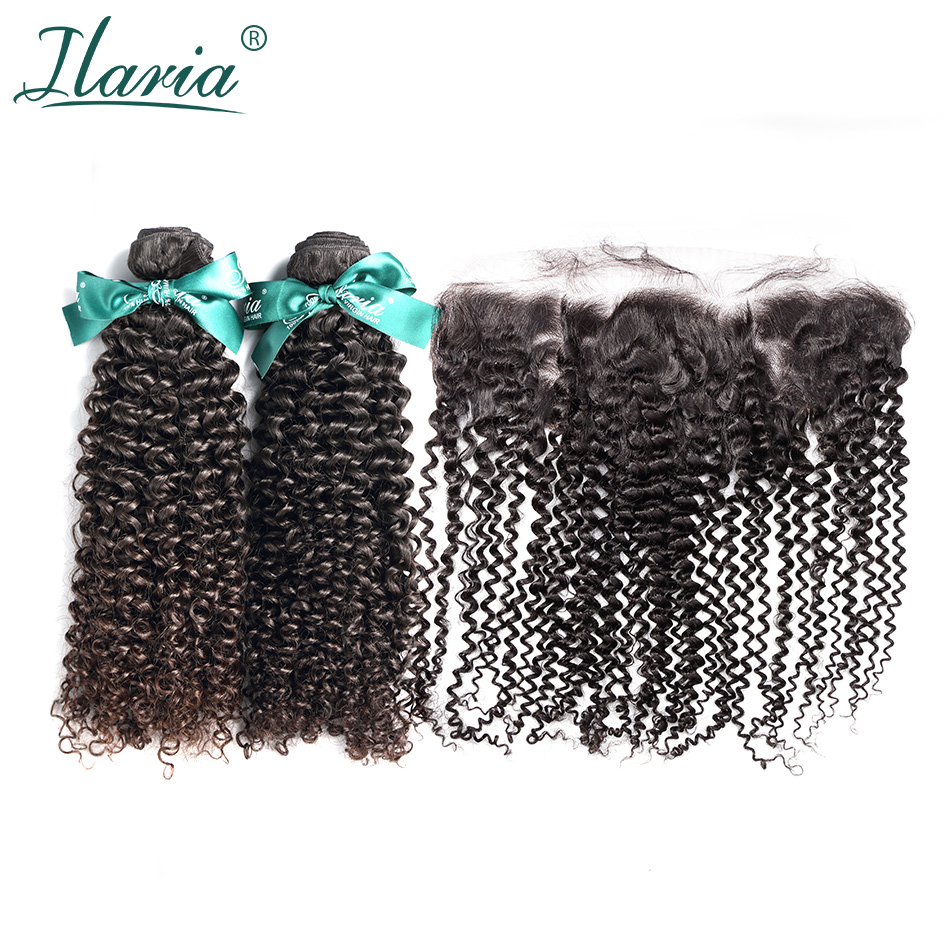 ILARIA HAIR Peruvian Afro Kinky Curly Human Hair Bundles With Closure 100% Remy Hair 2 Bundles With Lace Frontal Natural Color