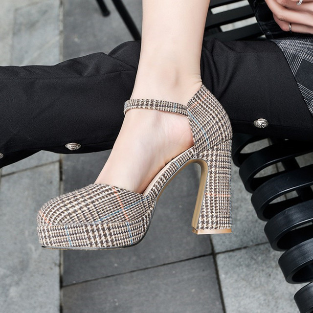 dc4e6050554 PXELENA 2018 Spring Trendy Plaid High Heels Sandals Women Round Toe Ankle  Strap Chunky Block Heels