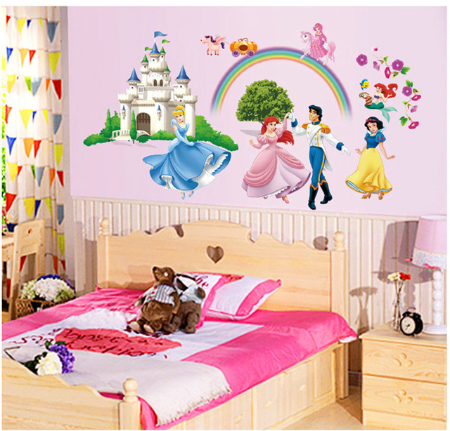 New Prince And Princess Large Wall Stickers Cartoon For Kids Rooms