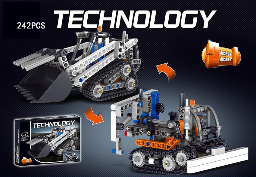 Hot Engineering vehicle Technics technology compact tracked loader 2in1 building block Bulldozer model bricks 42032 toys for boy hot technician technics extreme adventure 2in1 building block remote control tracked vehicle rc cars bricks 42069 toys for kids