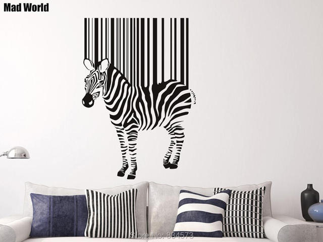 Mad World Zebra Barcode Stripes Animals Wall Art Stickers Wall - Zebra stripe wall decals
