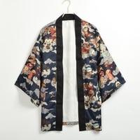 Men Japanese Yukata Cardgain Coat Print Kimono Outwear Hyakki Yakou Clarkes World Costumes