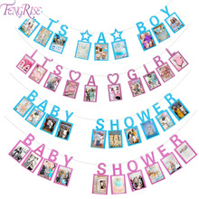 FENGRISE Its a Girl/Boy Decoration Baby Shower Photo Props Frame Banner Flag Bunting Garland Birthday Party Decor Kid