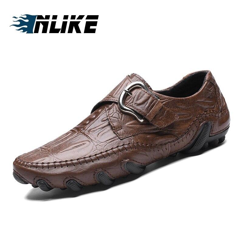 Homens Preto Couro Inlike Tamanho Apartamentos Mocassins brown Sapatos Grande Qualidade Alta Moda New Roman Macio Estilo Outono Genuíno De zqzwRTx