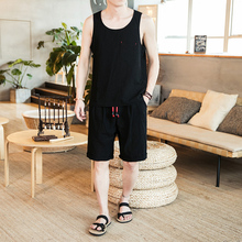 Loldeal Mens Fashion Summer Set Sleeveless Cotton Shirt Shorts Solid Color Vest +