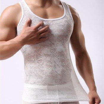 Männer Unterhemd Ärmellos Spitze Clubwear Hemd 1