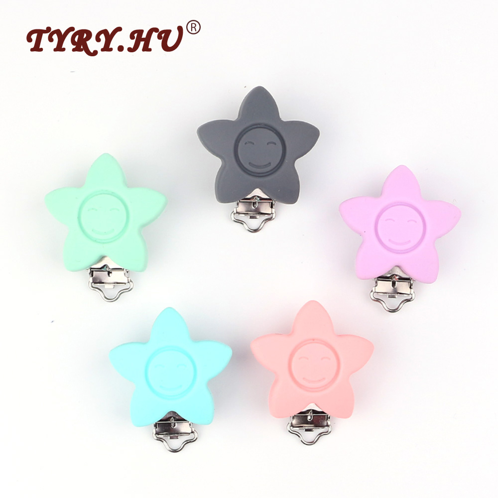 TYRY.HU 1Pc Star Shaped Silicone Pacifier Clip Food Grade Chewable Baby Teether Baby Teething Feeding Pacifier Chain Accessories